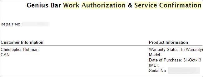 شماره سریال مک در ایمیل تائید درخواست خدمات از اپل