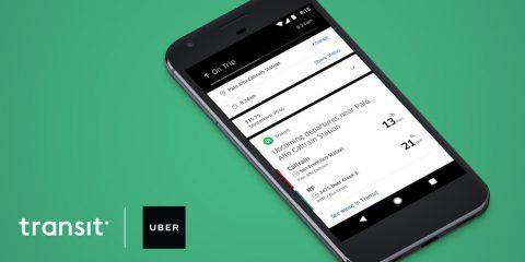 نمایش زمان حرکت اتوبوس و مترو در مقصد توسط اپلیکیشن اوبر (Uber)