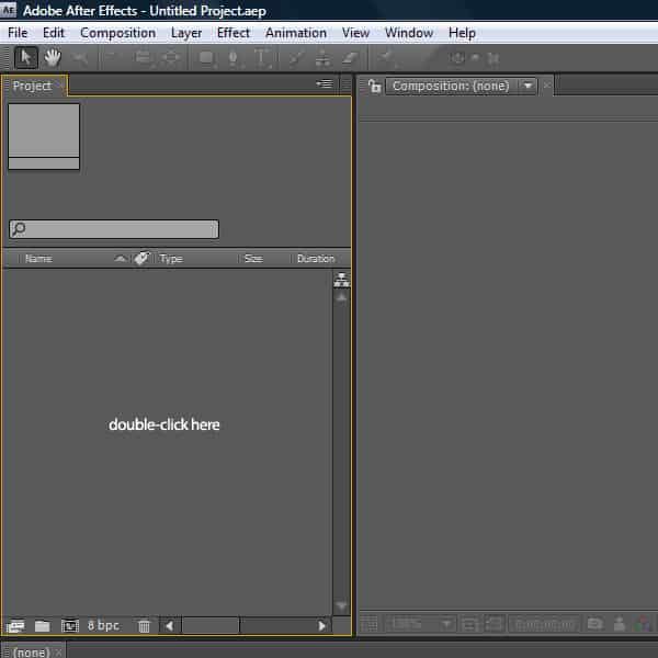 برای ایجاد طرح اولیه، بر روی پنجرهی مربوط به پروژه (project window) دو بار کلیک کنید.