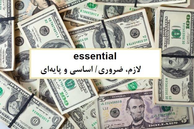 essential= لازم، ضروری/ اساسی و پایهای