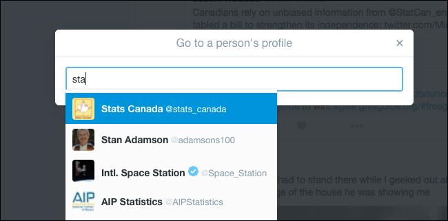جستجوی پروفایل با استفاده از میانبرهای کیبورد توئیتر