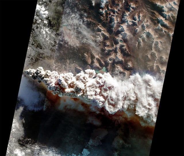 تصویر آتشفشان ثبت شده توسط فرمان نرم افزار هوش مصنوعی به ماهواره EO-1