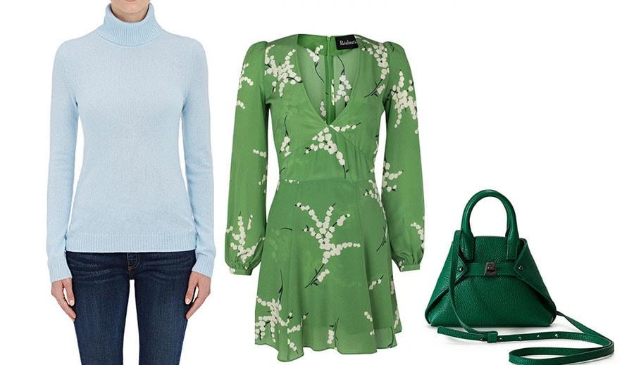 ترکیب رنگ سبز چمنی و آبی و سبز کمرنگ