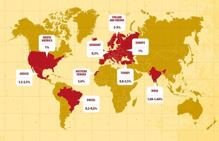 نقشه میزان شیوع بیماری سلیاک
