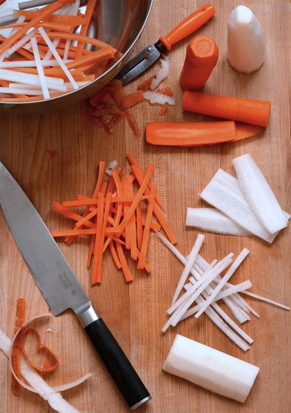 برش دادن ترب و هویج