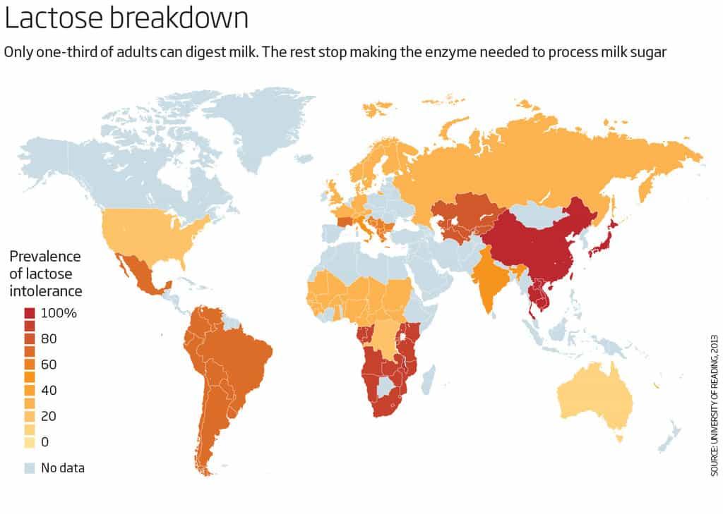 نقشه شیوع عدم تحمل لاکتوز