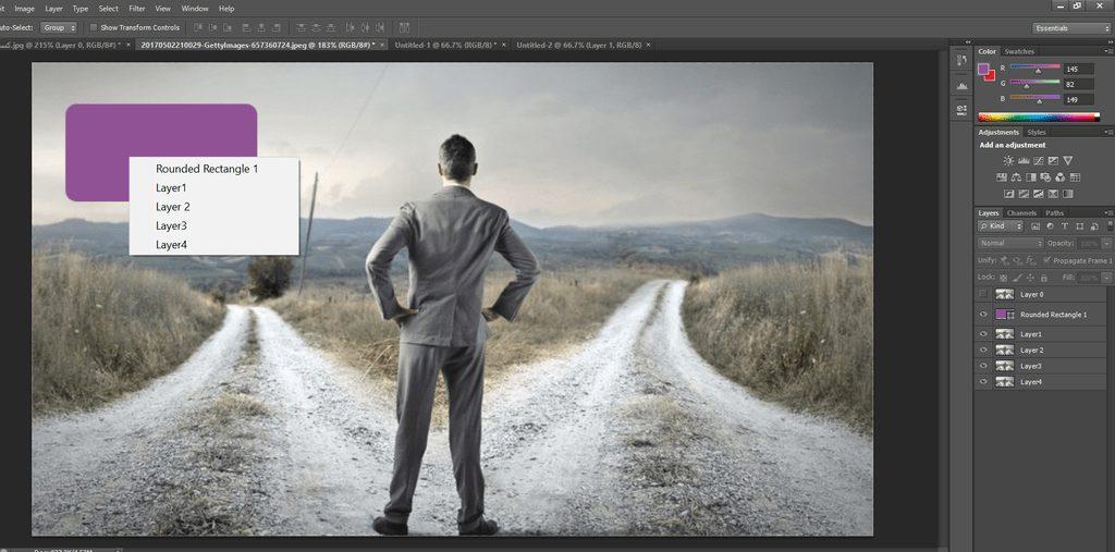 جستجوی یک لایه یا دستیابی به لایه ها در فوتوشاپ