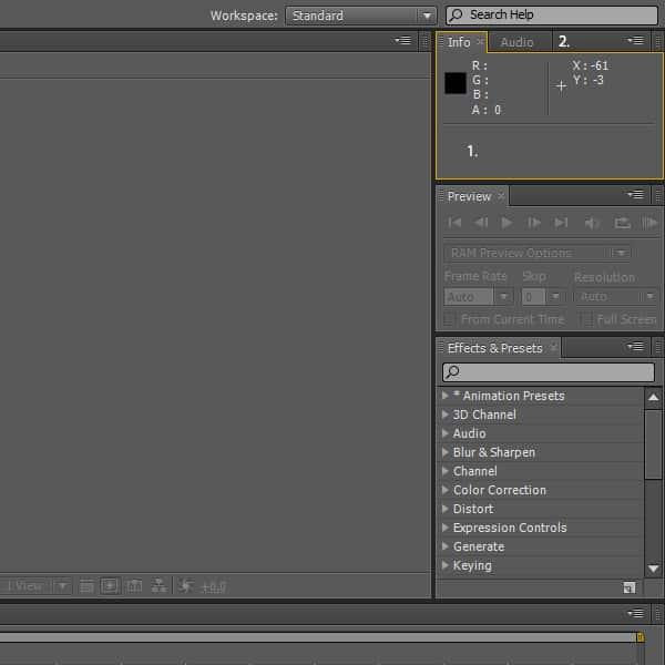فضای کاری این نرم افزار، شامل تعدادی پنل (Panel) و فریم (Frame) میباشد.