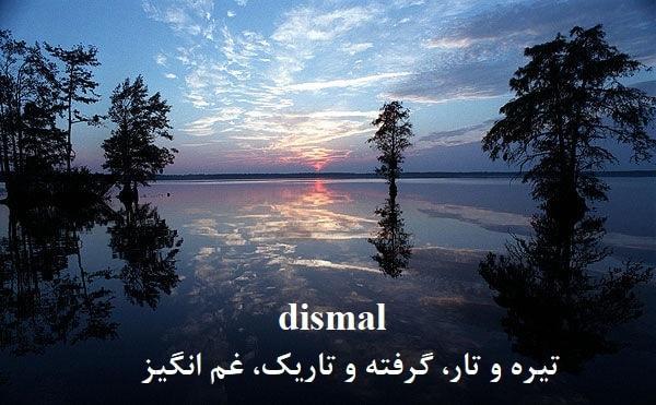 dismal =تیره و تار، گرفته و تاریک، غم انگیز