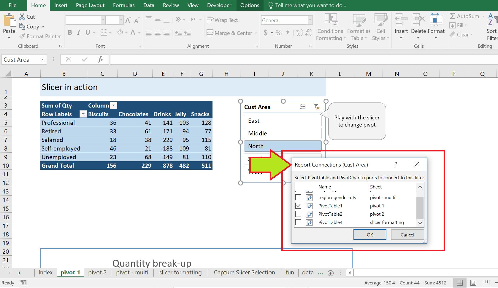 چند جدول و یک اسلایسر در نرم افزار اکسل