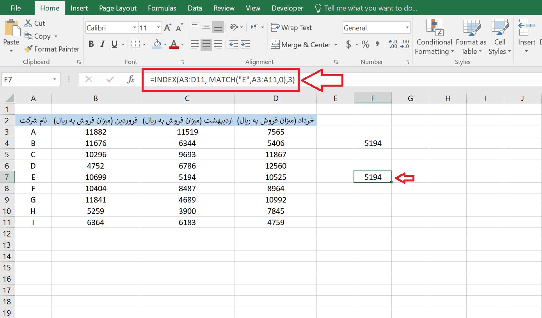 استفادهی همزمان یا ترکیبی از دو تابع Index و Match