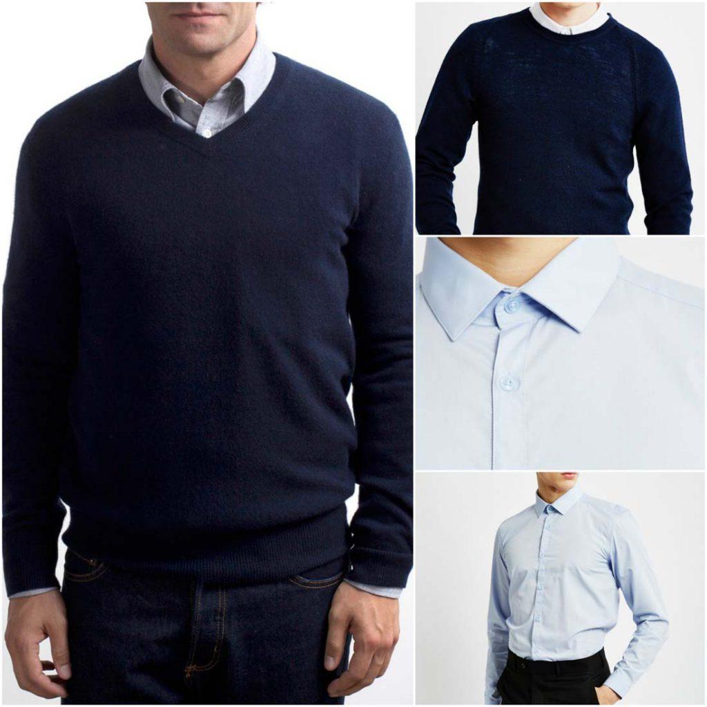 پوشیدن ژاکت و پیراهن مردانه