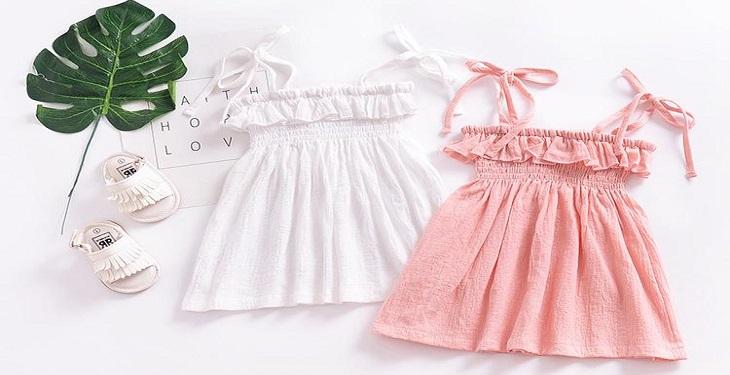 پیراهن سفید و صورتی برای دختر بچه ها