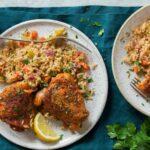 خوراک برنج و مرغ در فر با ادویه ایتالیایی و طعم عالی