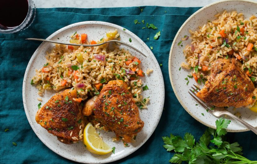 خوراک برنج و مرغ در فر