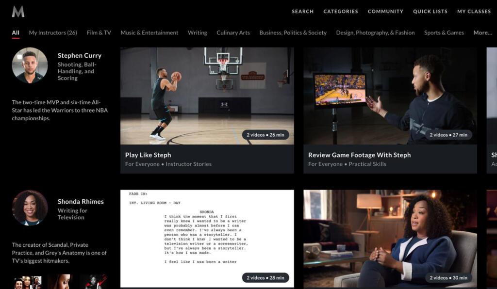 مسترکلاس یکی از سایت های یادکیری آنلاین